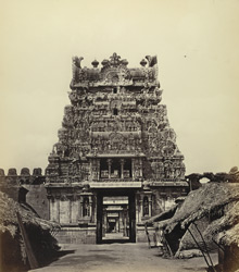 Seringham Pagoda near Trichinopoly. Pyramidal gateway at south entrance to Second Court